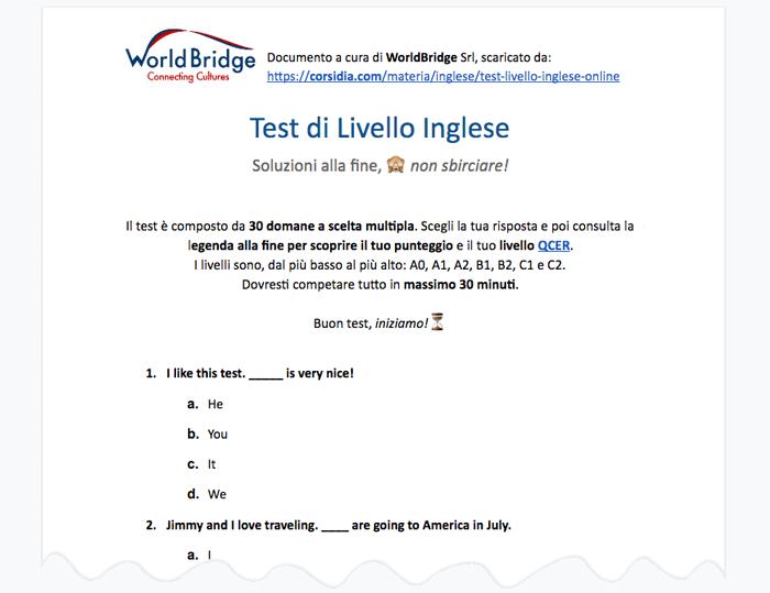 Test Inglese Online Gratis Con Brigitta Corsidia